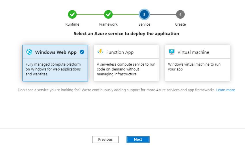 Azureのサービスを選択