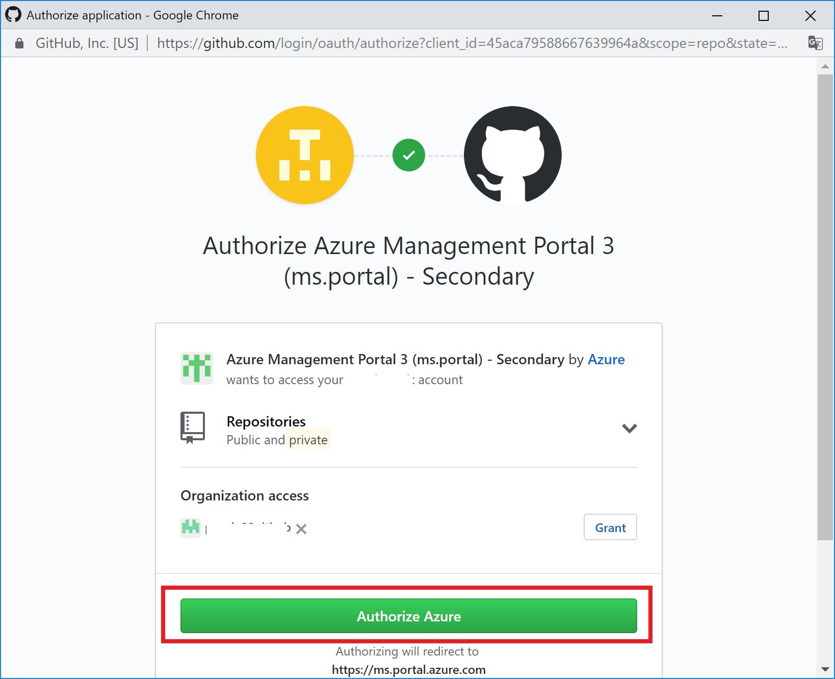Authorize Azureを押下