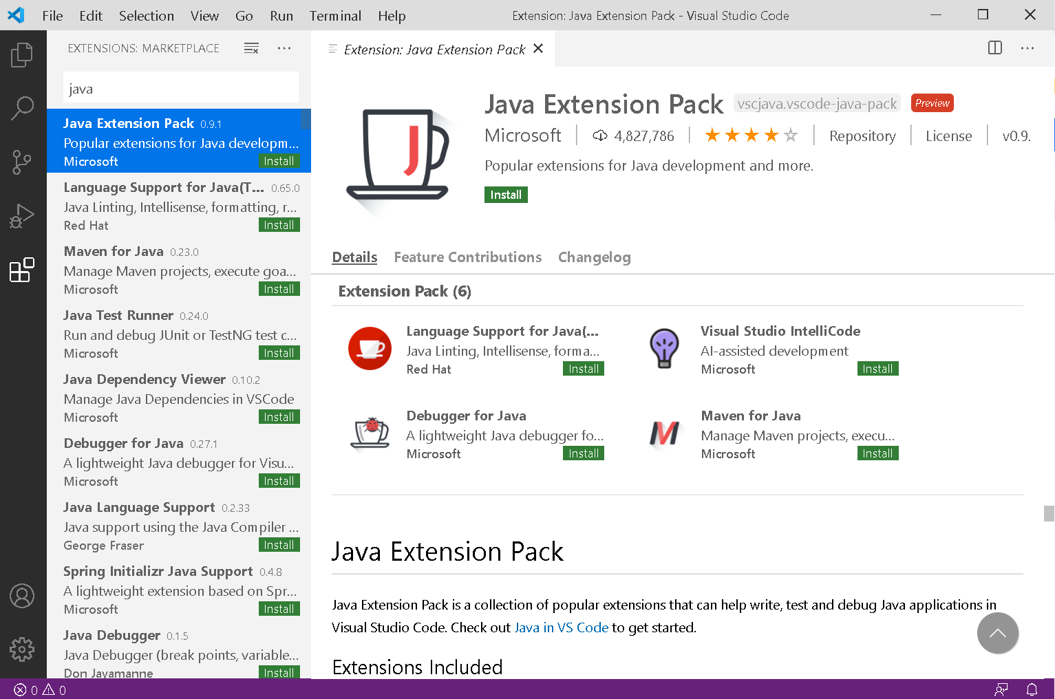 Java Extension Pack検索